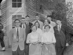 Group of 1950s Students Outside Campus Building by Opal R. Lovett