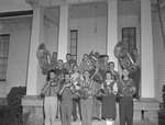 Group of 1950s Musicians Outside College Music Building with Instruments 2 by Opal R. Lovett