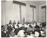 President Houston Cole Speaks during 1949 Homecoming Banquet by unknown