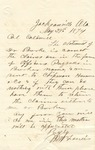Correspondence   Letter from M.W. Francis to John Henry Caldwell, May 1874