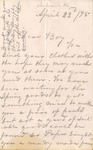 Correspondence | Letter from Mary Caldwell to Ed Caldwell, April 1875